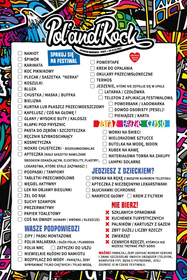 Lista rzeczy do zabrania na Festiwal