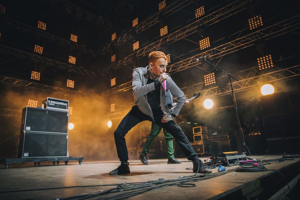 The band's frontman, Frank Carter, on the Pol'and'Rock stage. Photo credit: Anna Migda