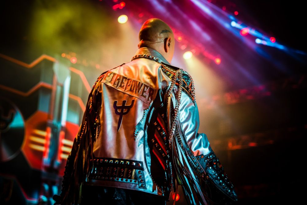 "Rob Halford starting the Judas Priest concert in his ""Firepower"" tour jacket. Photo credit: Marcin Michoń"