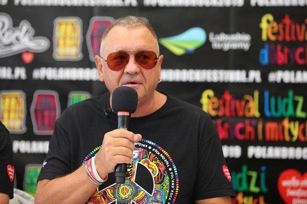 Jurek Owsiak na konferencji przed 25. Pol'and'Rock Festival w Zielonej Górze fot. Michał Sandecki