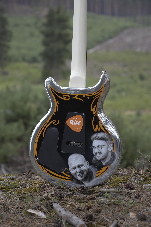 Back of the guitar with images of Adam Nowak and Jakobe Mansztajn. photo by Szymon Chwalisz.